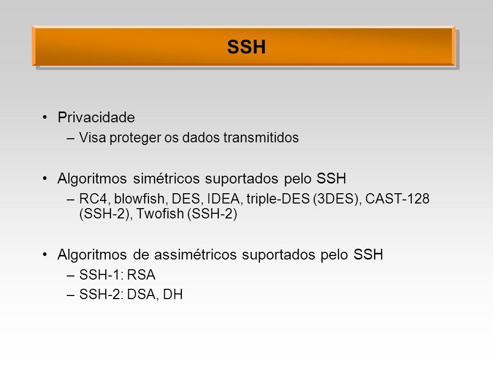 SSH Privacidade –Visa proteger os dados transmitidos Algoritmos simétricos suportados pelo SSH –RC4, blowfish, DES, IDEA, triple-DES (3DES), CAST-128