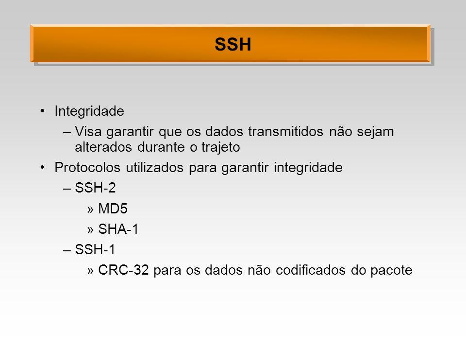 SSH Integridade –Visa garantir que os dados transmitidos não sejam alterados durante o trajeto Protocolos utilizados para garantir integridade –SSH-2