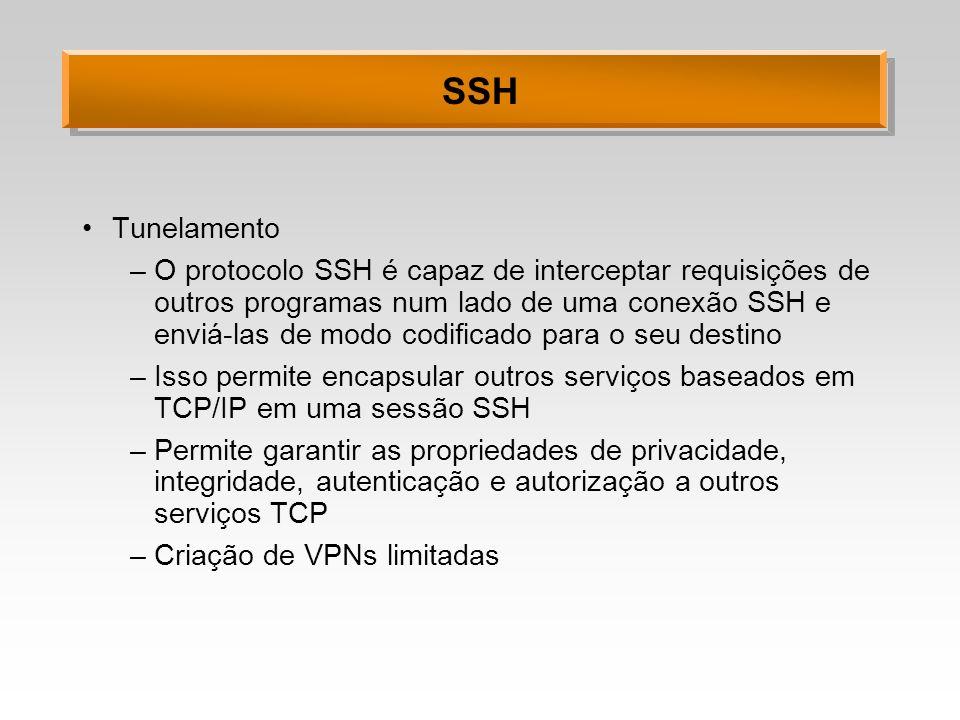 SSH Tunelamento –O protocolo SSH é capaz de interceptar requisições de outros programas num lado de uma conexão SSH e enviá-las de modo codificado par