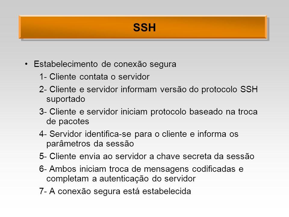 SSH Estabelecimento de conexão segura 1- Cliente contata o servidor 2- Cliente e servidor informam versão do protocolo SSH suportado 3- Cliente e serv