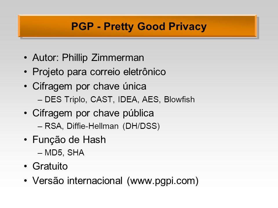 PGP - Pretty Good Privacy Autor: Phillip Zimmerman Projeto para correio eletrônico Cifragem por chave única –DES Triplo, CAST, IDEA, AES, Blowfish Cif