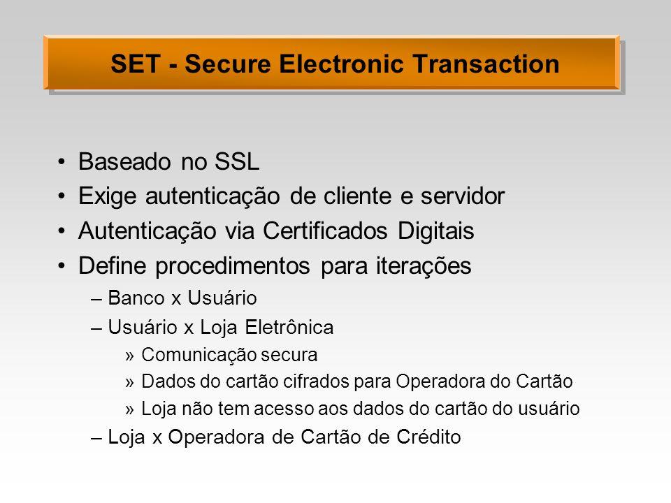 SET - Secure Electronic Transaction Baseado no SSL Exige autenticação de cliente e servidor Autenticação via Certificados Digitais Define procedimento