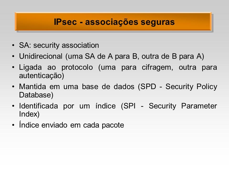 IPsec - associações seguras SA: security association Unidirecional (uma SA de A para B, outra de B para A) Ligada ao protocolo (uma para cifragem, out