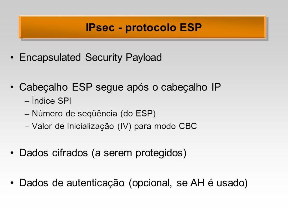 IPsec - protocolo ESP Encapsulated Security Payload Cabeçalho ESP segue após o cabeçalho IP –Índice SPI –Número de seqüência (do ESP) –Valor de Inicia