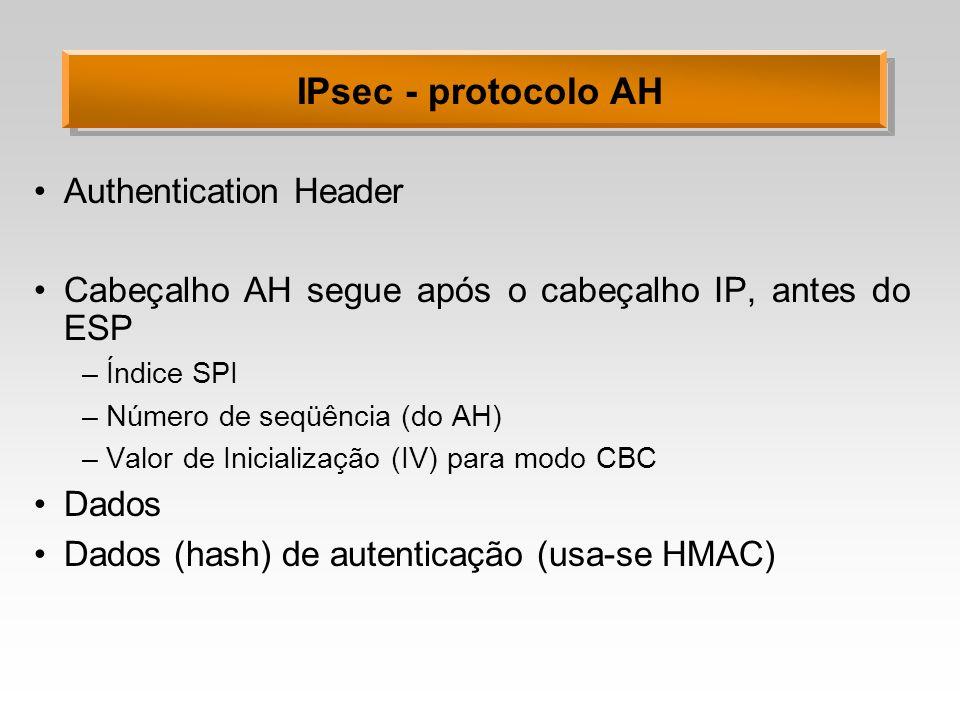 IPsec - protocolo AH Authentication Header Cabeçalho AH segue após o cabeçalho IP, antes do ESP –Índice SPI –Número de seqüência (do AH) –Valor de Ini