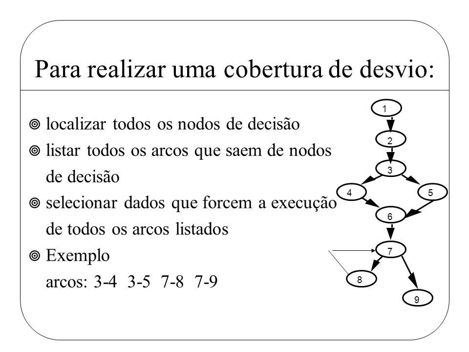 Para realizar uma cobertura de desvio: ¥ localizar todos os nodos de decisão ¥ listar todos os arcos que saem de nodos de decisão ¥ selecionar dados q