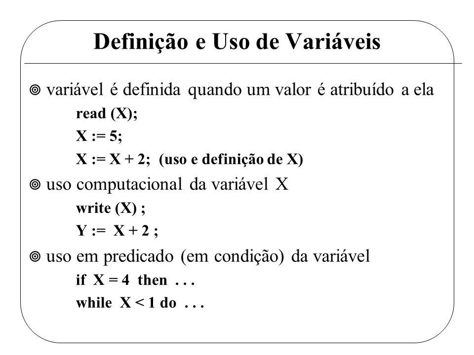 Definição e Uso de Variáveis ¥ variável é definida quando um valor é atribuído a ela read (X); X := 5; X := X + 2; (uso e definição de X) ¥ uso comput