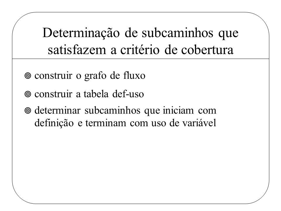 Determinação de subcaminhos que satisfazem a critério de cobertura ¥ construir o grafo de fluxo ¥ construir a tabela def-uso ¥ determinar subcaminhos