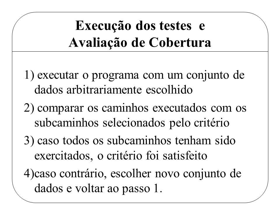 Execução dos testes e Avaliação de Cobertura 1) executar o programa com um conjunto de dados arbitrariamente escolhido 2) comparar os caminhos executa