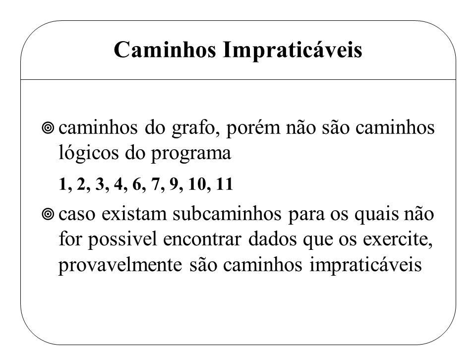 Caminhos Impraticáveis ¥ caminhos do grafo, porém não são caminhos lógicos do programa 1, 2, 3, 4, 6, 7, 9, 10, 11 ¥ caso existam subcaminhos para os