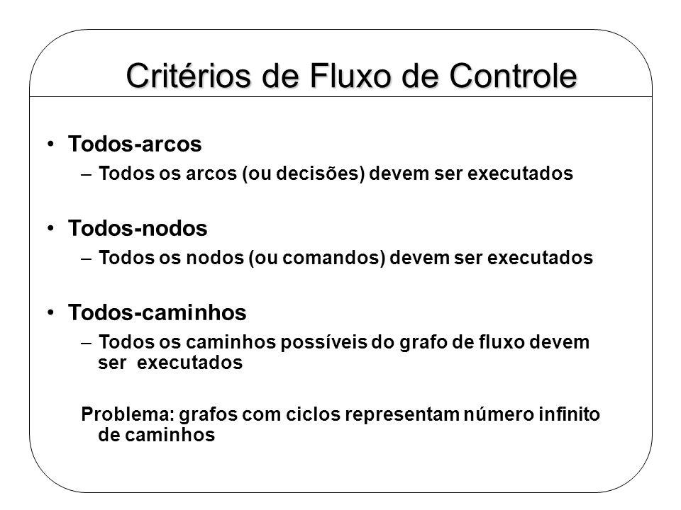 Critérios de Fluxo de Controle Todos-arcos –Todos os arcos (ou decisões) devem ser executados Todos-nodos –Todos os nodos (ou comandos) devem ser exec