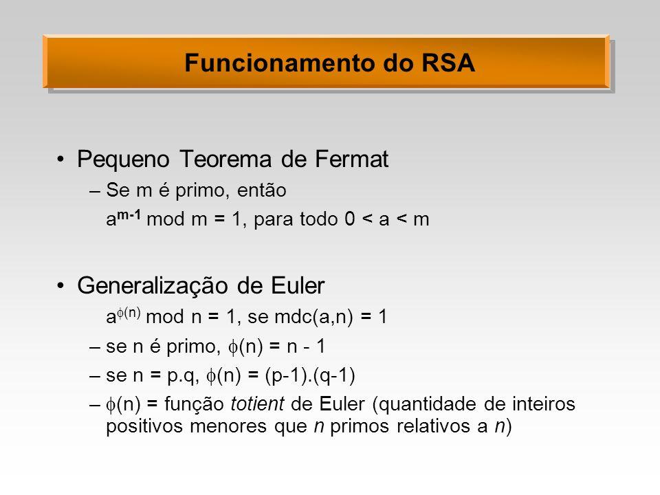 Funcionamento do RSA Pequeno Teorema de Fermat –Se m é primo, então a m-1 mod m = 1, para todo 0 < a < m Generalização de Euler a (n) mod n = 1, se md