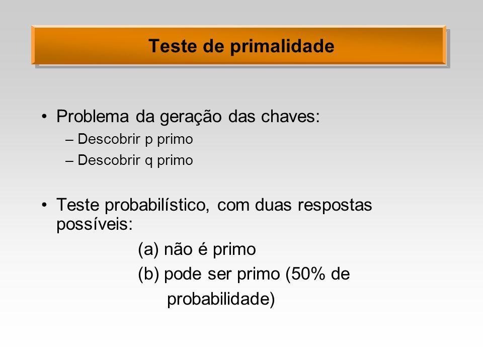 Teste de primalidade Problema da geração das chaves: –Descobrir p primo –Descobrir q primo Teste probabilístico, com duas respostas possíveis: (a) não