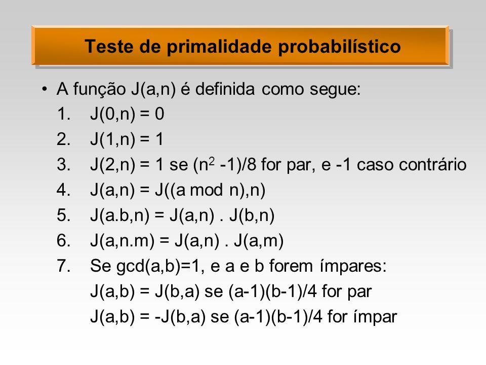 Teste de primalidade probabilístico A função J(a,n) é definida como segue: 1.J(0,n) = 0 2.J(1,n) = 1 3.J(2,n) = 1 se (n 2 -1)/8 for par, e -1 caso con