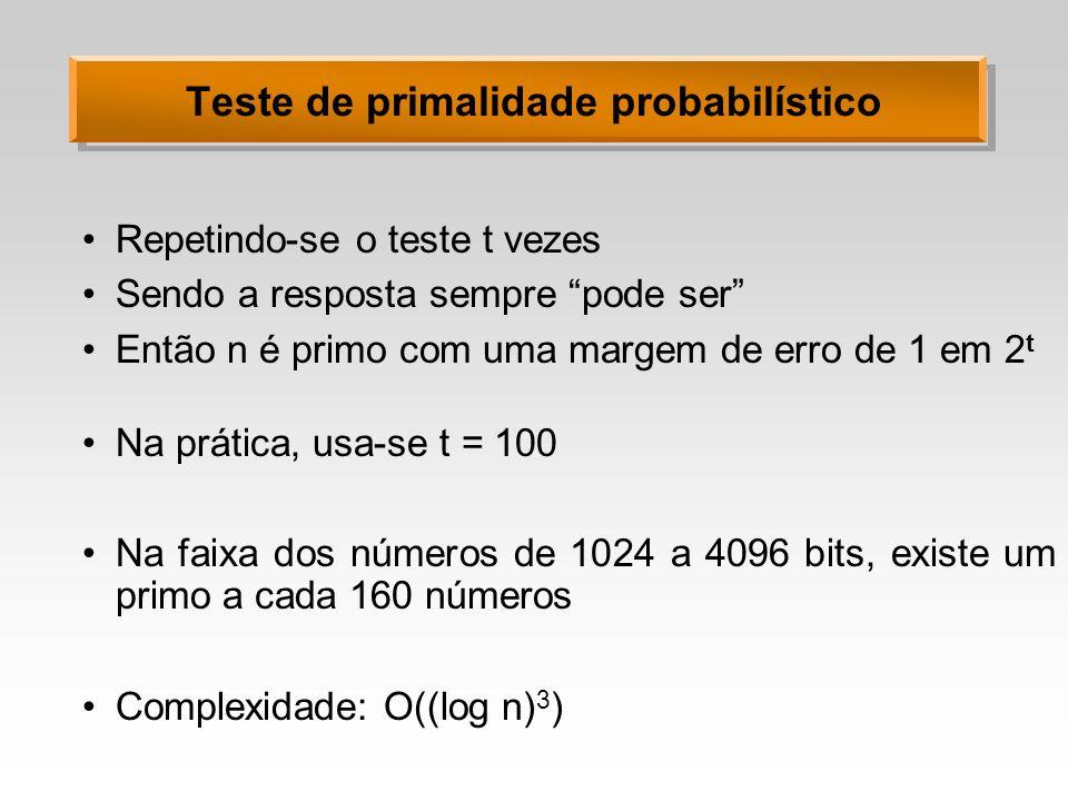 Teste de primalidade probabilístico Repetindo-se o teste t vezes Sendo a resposta sempre pode ser Então n é primo com uma margem de erro de 1 em 2 t N
