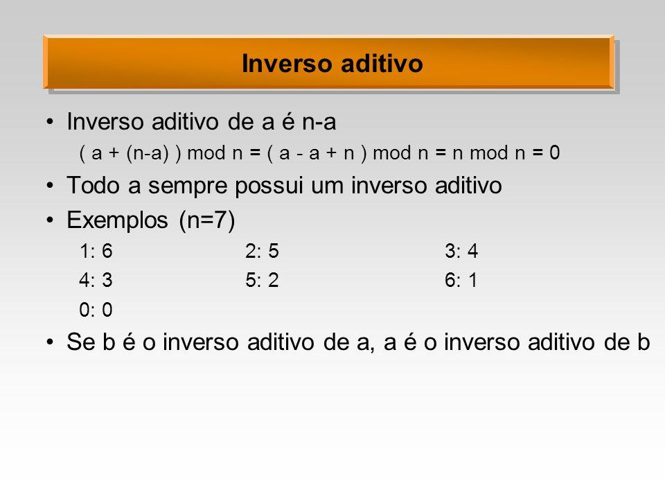 Inverso aditivo Inverso aditivo de a é n-a ( a + (n-a) ) mod n = ( a - a + n ) mod n = n mod n = 0 Todo a sempre possui um inverso aditivo Exemplos (n
