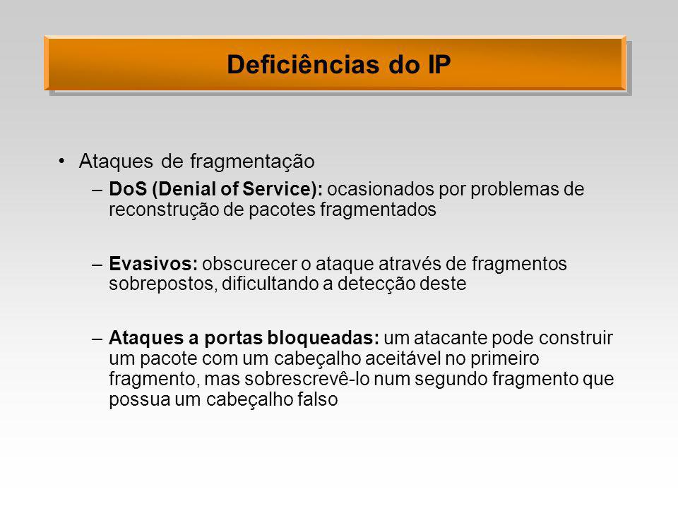 Deficiências do IP Ataques de fragmentação –DoS (Denial of Service): ocasionados por problemas de reconstrução de pacotes fragmentados –Evasivos: obsc