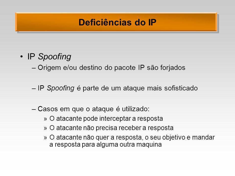 Deficiências do IP IP Spoofing –Origem e/ou destino do pacote IP são forjados –IP Spoofing é parte de um ataque mais sofisticado –Casos em que o ataqu