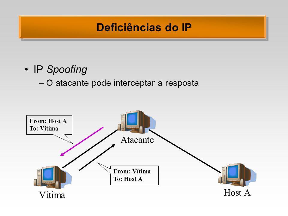 Deficiências do IP IP Spoofing –O atacante pode interceptar a resposta Vítima Atacante Host A From: Host A To: Vítima From: Vítima To: Host A