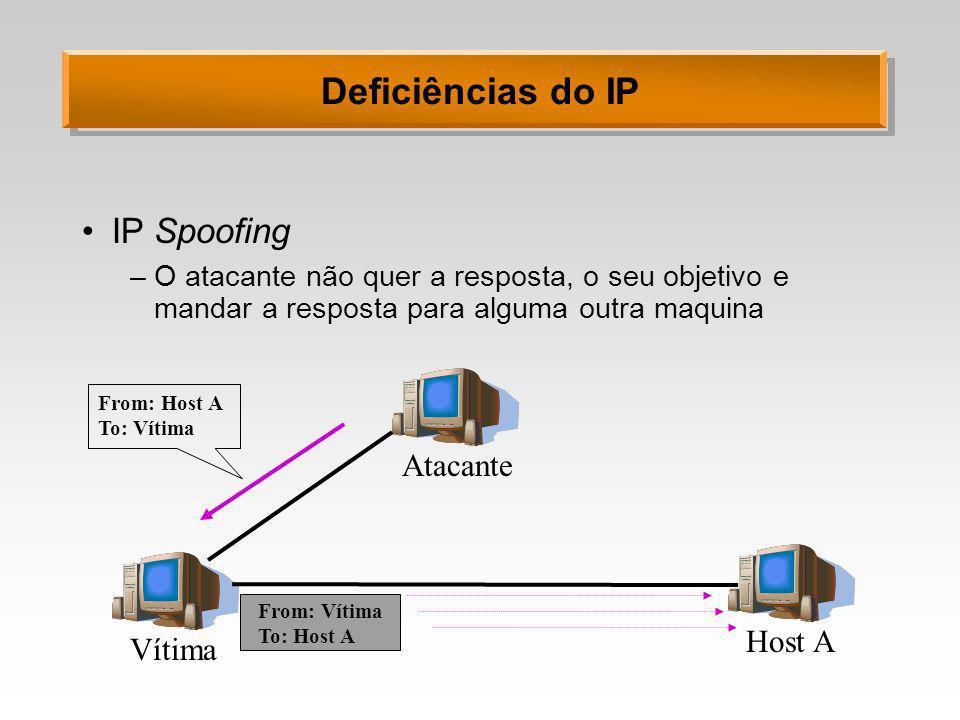 Deficiências do IP IP Spoofing –O atacante não quer a resposta, o seu objetivo e mandar a resposta para alguma outra maquina Vítima Atacante Host A Fr