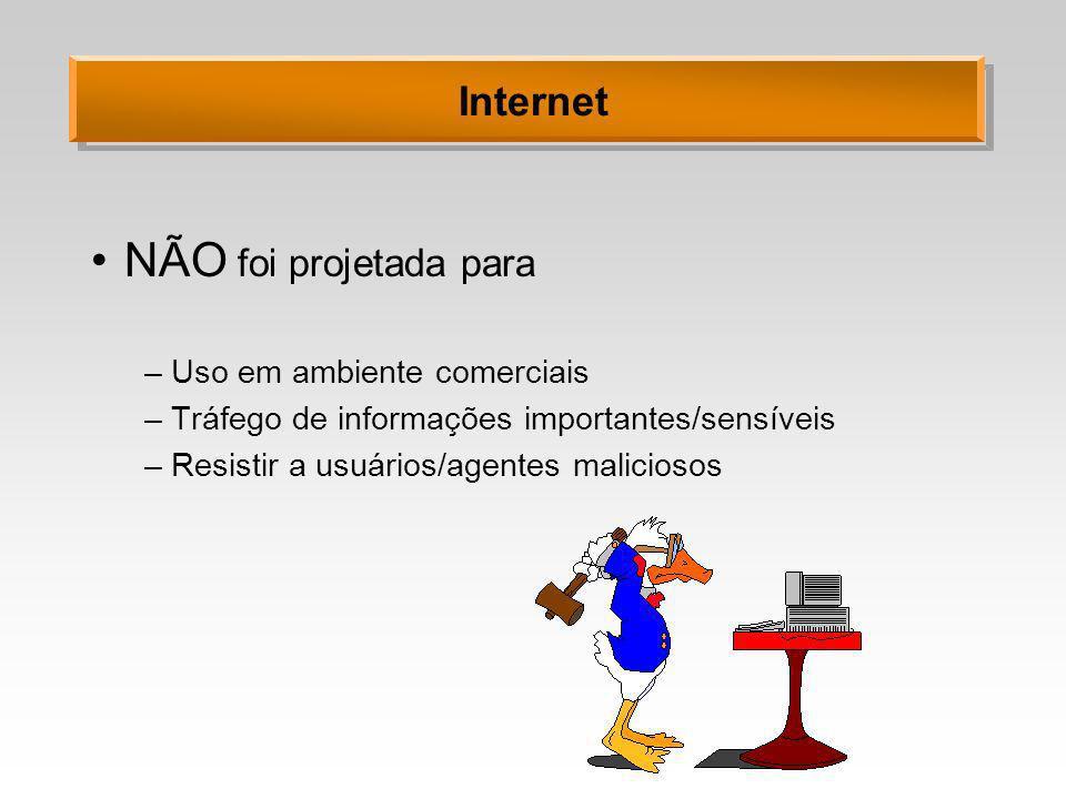 Internet NÃO foi projetada para –Uso em ambiente comerciais –Tráfego de informações importantes/sensíveis –Resistir a usuários/agentes maliciosos