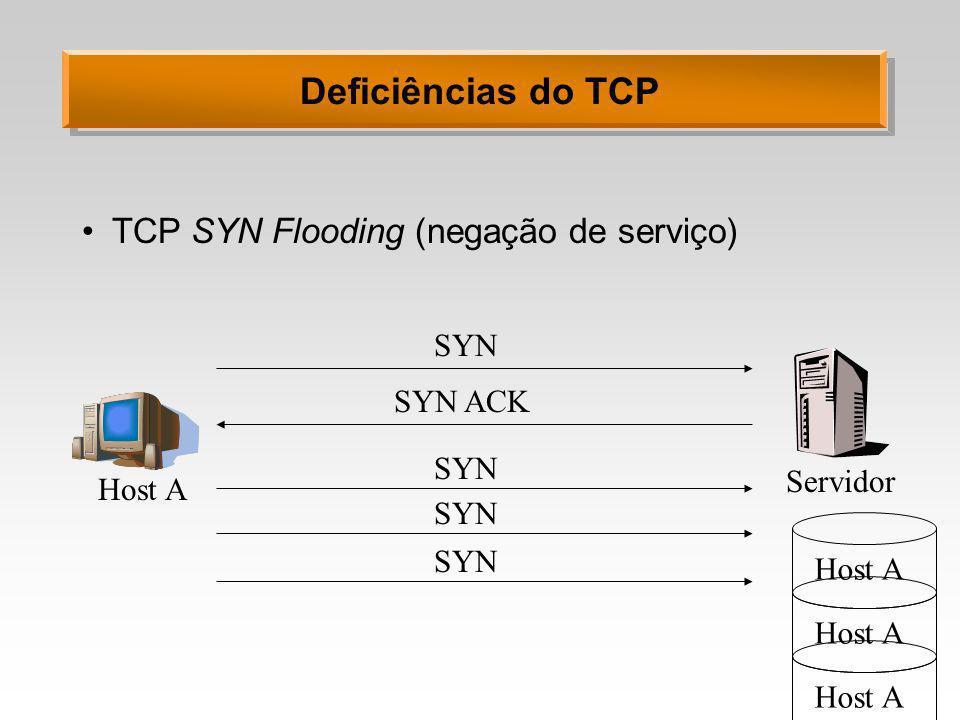 Deficiências do TCP TCP SYN Flooding (negação de serviço) Servidor Host A SYN SYN ACK SYN Host A SYN Host A