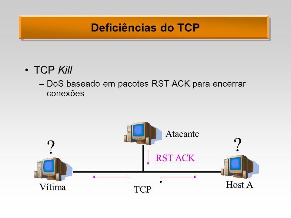 Deficiências do TCP TCP Kill –DoS baseado em pacotes RST ACK para encerrar conexões Vítima Atacante Host A TCP RST ACK ? ?