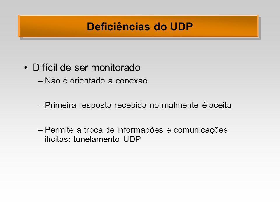 Deficiências do UDP Difícil de ser monitorado –Não é orientado a conexão –Primeira resposta recebida normalmente é aceita –Permite a troca de informaç