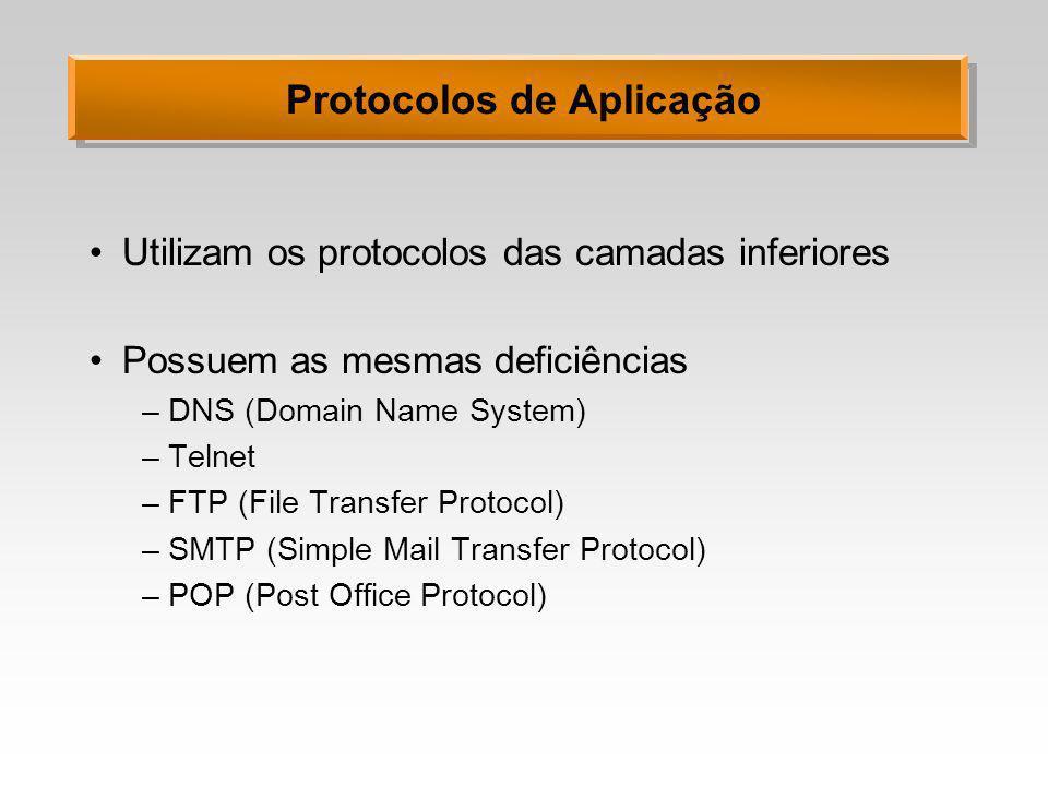 Protocolos de Aplicação Utilizam os protocolos das camadas inferiores Possuem as mesmas deficiências –DNS (Domain Name System) –Telnet –FTP (File Tran