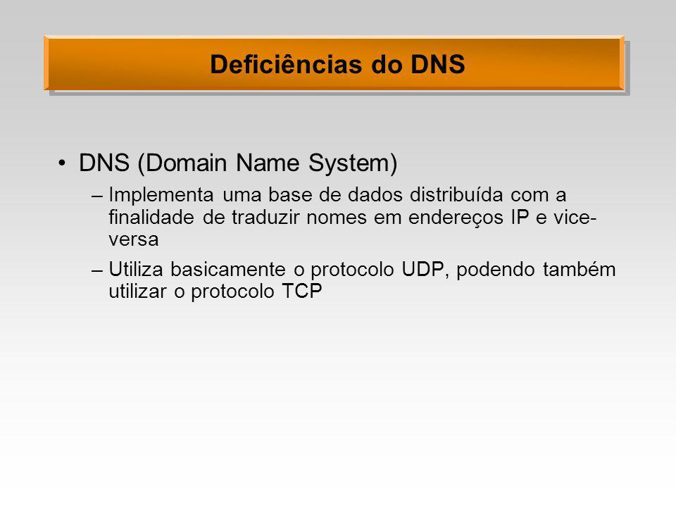 Deficiências do DNS DNS (Domain Name System) –Implementa uma base de dados distribuída com a finalidade de traduzir nomes em endereços IP e vice- vers