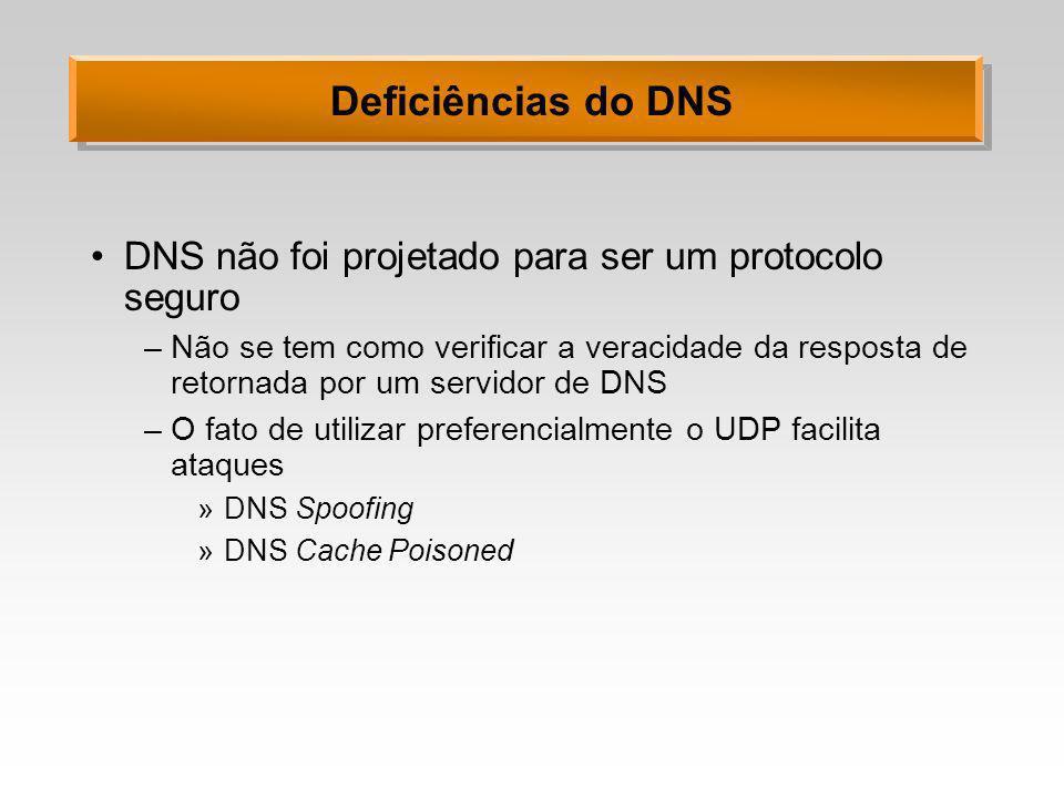 Deficiências do DNS DNS não foi projetado para ser um protocolo seguro –Não se tem como verificar a veracidade da resposta de retornada por um servido