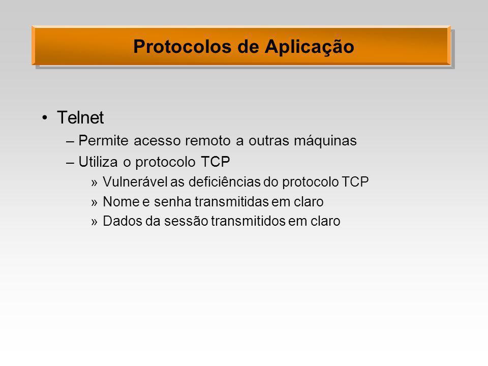 Protocolos de Aplicação Telnet –Permite acesso remoto a outras máquinas –Utiliza o protocolo TCP »Vulnerável as deficiências do protocolo TCP »Nome e