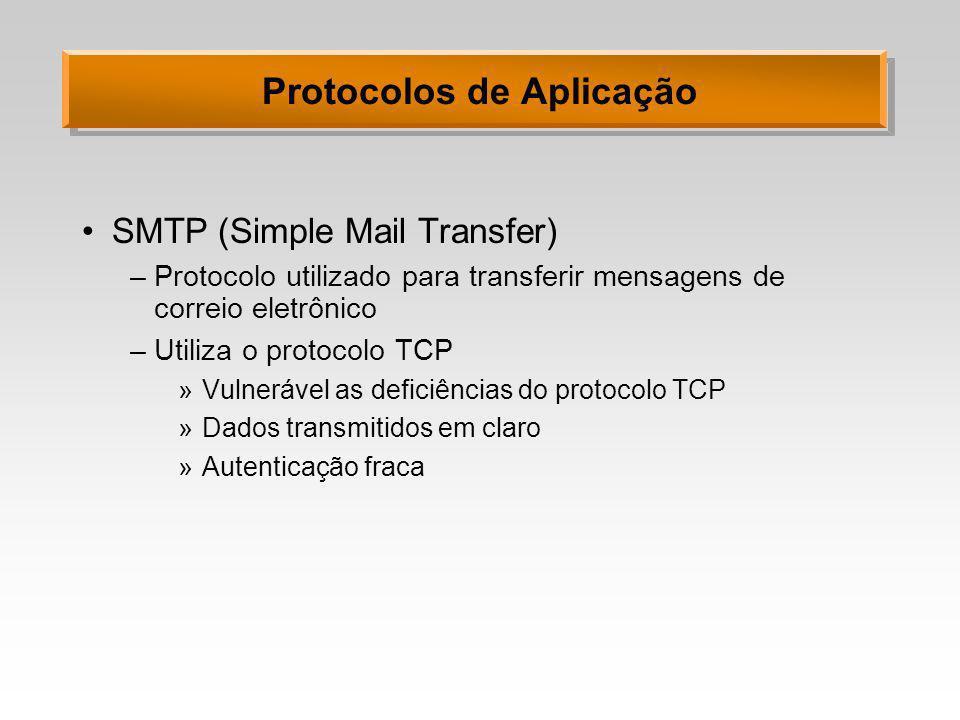 Protocolos de Aplicação SMTP (Simple Mail Transfer) –Protocolo utilizado para transferir mensagens de correio eletrônico –Utiliza o protocolo TCP »Vul