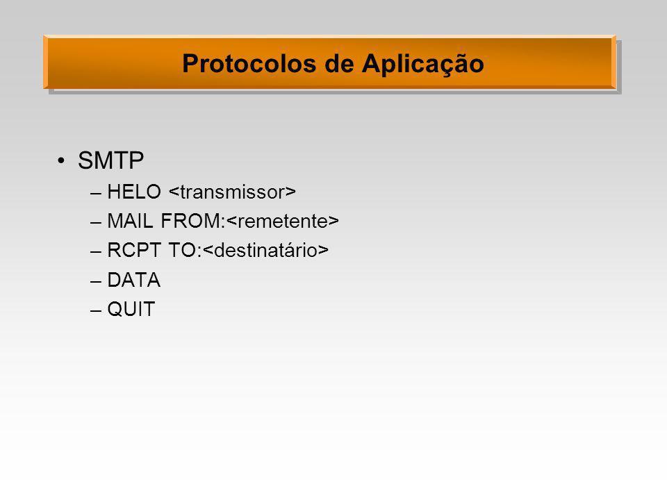 Protocolos de Aplicação SMTP –HELO –MAIL FROM: –RCPT TO: –DATA –QUIT