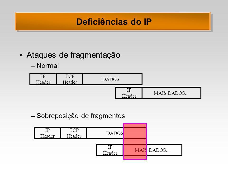 Deficiências do IP Ataques de fragmentação –Normal –Sobreposição de fragmentos IP Header TCP Header DADOS IP Header MAIS DADOS... IP Header TCP Header