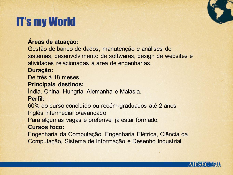 ITs my World Áreas de atuação: Gestão de banco de dados, manutenção e análises de sistemas, desenvolvimento de softwares, design de websites e atividades relacionadas à área de engenharias.