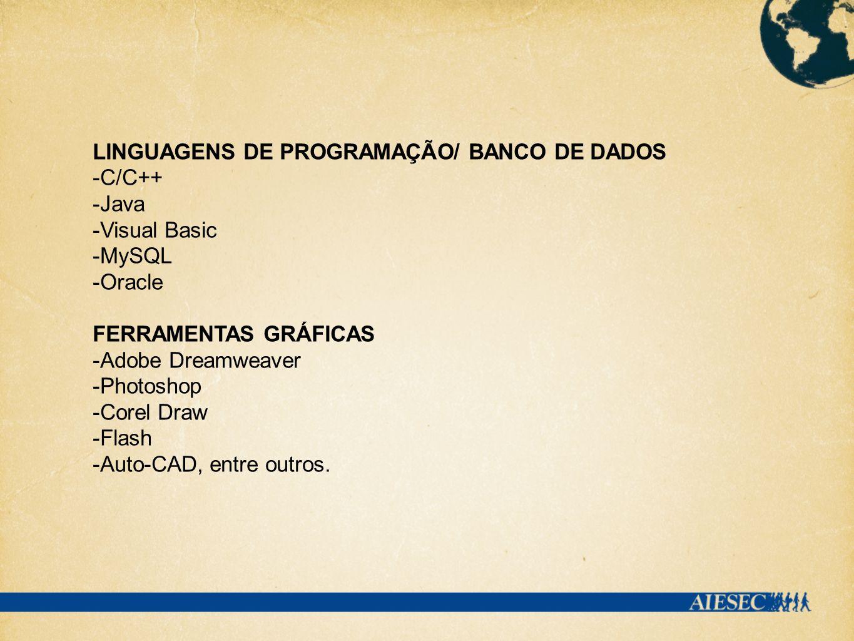 LINGUAGENS DE PROGRAMAÇÃO/ BANCO DE DADOS -C/C++ -Java -Visual Basic -MySQL -Oracle FERRAMENTAS GRÁFICAS -Adobe Dreamweaver -Photoshop -Corel Draw -Fl