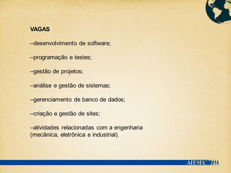 VAGAS –desenvolvimento de software; –programação e testes; –gestão de projetos; –análise e gestão de sistemas; –gerenciamento de banco de dados; –cria