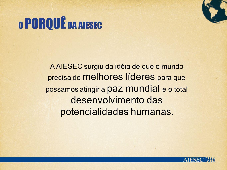 O PORQUÊ DA AIESEC A AIESEC surgiu da idéia de que o mundo precisa de melhores líderes para que possamos atingir a paz mundial e o total desenvolvimento das potencialidades humanas.