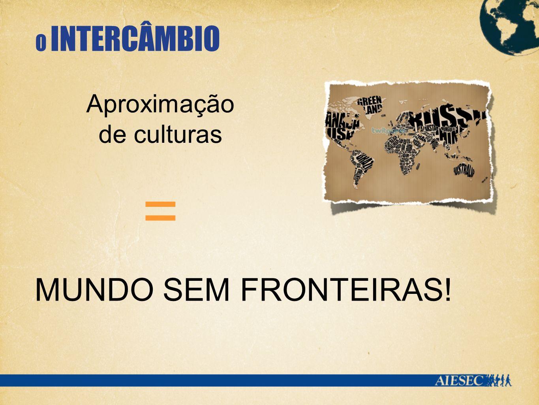 O INTERCÂMBIO MUNDO SEM FRONTEIRAS! Aproximação de culturas =