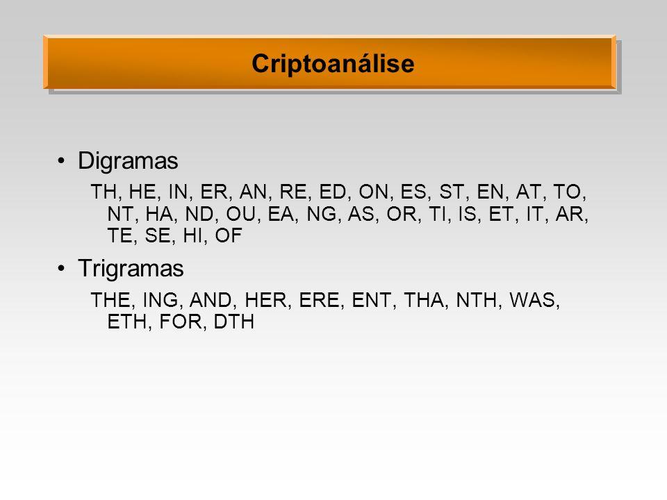 Criptoanálise Digramas TH, HE, IN, ER, AN, RE, ED, ON, ES, ST, EN, AT, TO, NT, HA, ND, OU, EA, NG, AS, OR, TI, IS, ET, IT, AR, TE, SE, HI, OF Trigrama