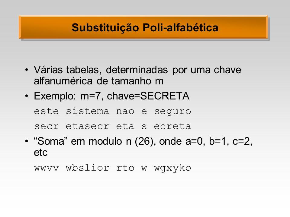 Substituição Poli-alfabética Várias tabelas, determinadas por uma chave alfanumérica de tamanho m Exemplo: m=7, chave=SECRETA este sistema nao e segur