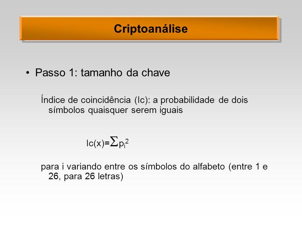 Criptoanálise Passo 1: tamanho da chave Índice de coincidência (Ic): a probabilidade de dois símbolos quaisquer serem iguais Ic(x)= p i 2 para i varia