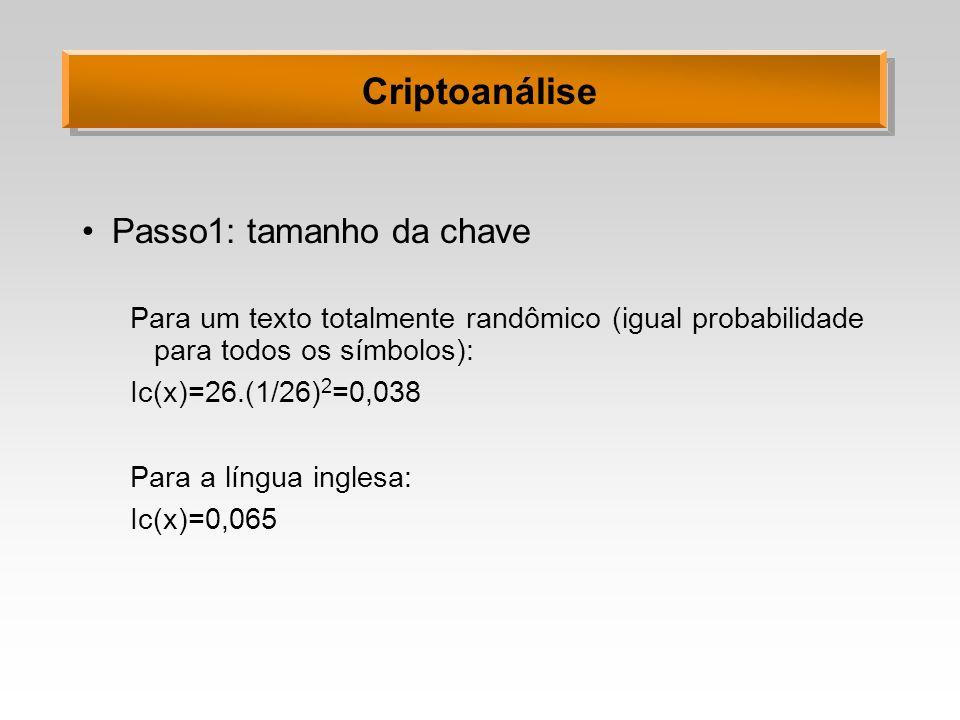 Criptoanálise Passo1: tamanho da chave Para um texto totalmente randômico (igual probabilidade para todos os símbolos): Ic(x)=26.(1/26) 2 =0,038 Para