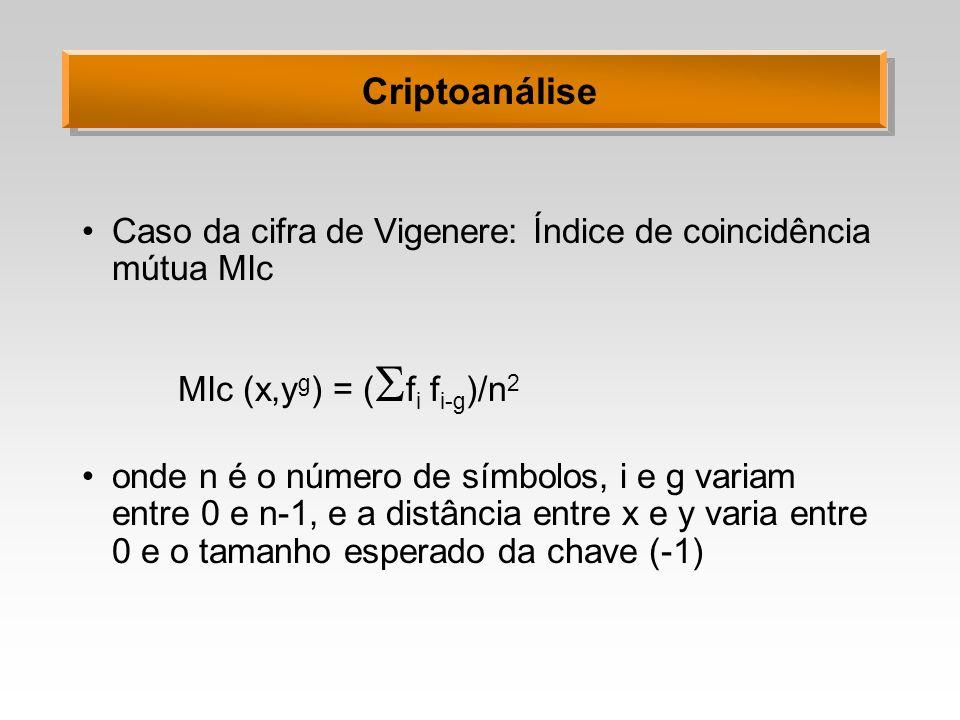 Criptoanálise Caso da cifra de Vigenere: Índice de coincidência mútua MIc MIc (x,y g ) = ( f i f i-g )/n 2 onde n é o número de símbolos, i e g variam