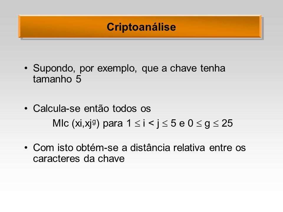 Criptoanálise Supondo, por exemplo, que a chave tenha tamanho 5 Calcula-se então todos os MIc (xi,xj g ) para 1 i < j 5 e 0 g 25 Com isto obtém-se a d