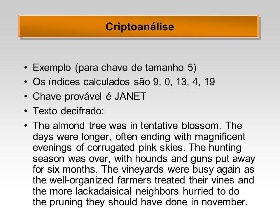 Criptoanálise Exemplo (para chave de tamanho 5) Os índices calculados são 9, 0, 13, 4, 19 Chave provável é JANET Texto decifrado: The almond tree was