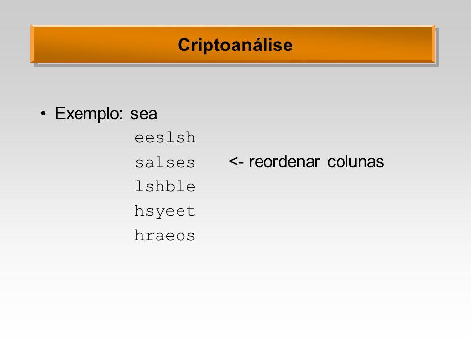 Criptoanálise Exemplo: sea eeslsh salses <- reordenar colunas lshble hsyeet hraeos