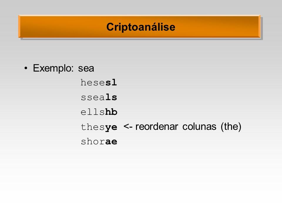 Criptoanálise Exemplo: sea hesesl sseals ellshb thesye <- reordenar colunas (the) shorae
