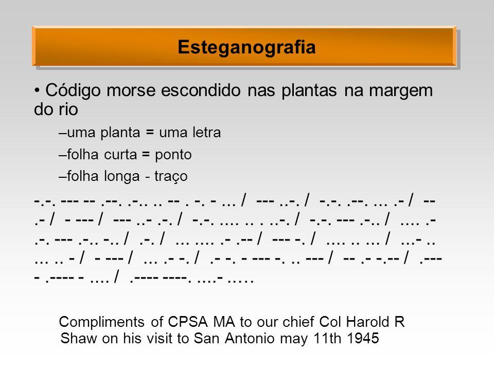 Esteganografia Código morse escondido nas plantas na margem do rio –uma planta = uma letra –folha curta = ponto –folha longa - traço -.-. --- --.--..-